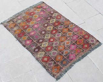 Turkish Kilim Rug 27''x40'' Hand Woven Konya Cicim Kilim 70x104cm