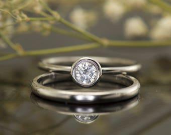 Bezel Set White Sapphire Wedding Set in 14k White Gold, 5mm/0.50ct Round White Sapphire, 2mm Domed Wedding Band, Bezel, Emerson W Set