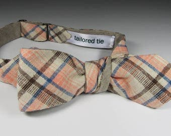 Italian cotton and linen plaid bow tie in varying stripes of summer pastels... over European natural flax textured linen. Slim adj self-tie.