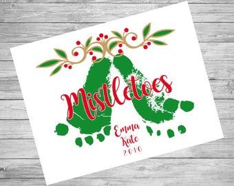 Baby's First Christmas | Hospital Footprints Mistletoe Ornament | PERSONALIZED Printable File or Printed