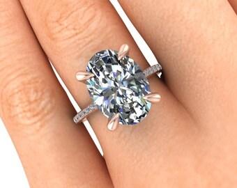 7 Carat Oval SuperNova Moissanite Engagement Ring, 18k Rose Gold and Diamonds Ring, 14x10mm Oval Moissanite, Diamond Alternative Ring