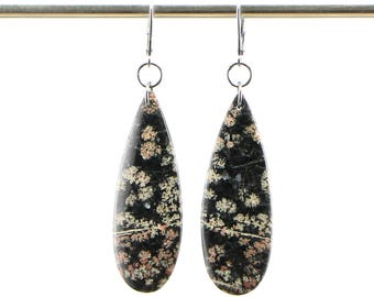 Snowflake Obsidian Teardrop Dangle Earrings on Oxidized Sterling Silver Leverbacks