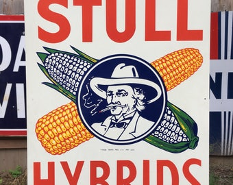 Rare NOS Stull Hybrids Agricultural Feed Sign Superb Condition Great Graphics
