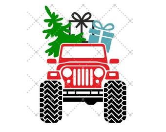 "Iron On Heat Transfer, Holiday Tshirt Designs, Vinyl Heat Transfer,T- Shirt Transfer, ""Holiday Jeep with Christmas Tree"" Heat Transfer"