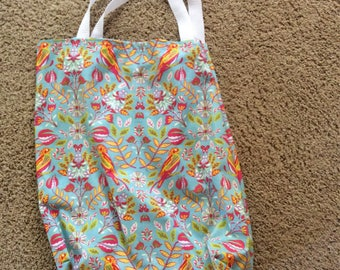 Light blue with pink birds market grocery shopping bag washable reusable