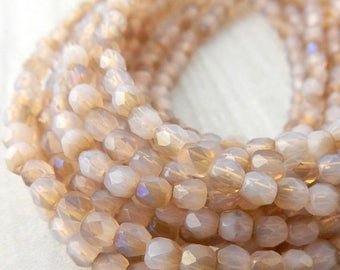Summer Sale Luster Iris OPAQUE SOFT PINK Faceted Round Czech Glass Beads 3mm Qty 50 Firepolished Tiny Soft Pink Beige Beads