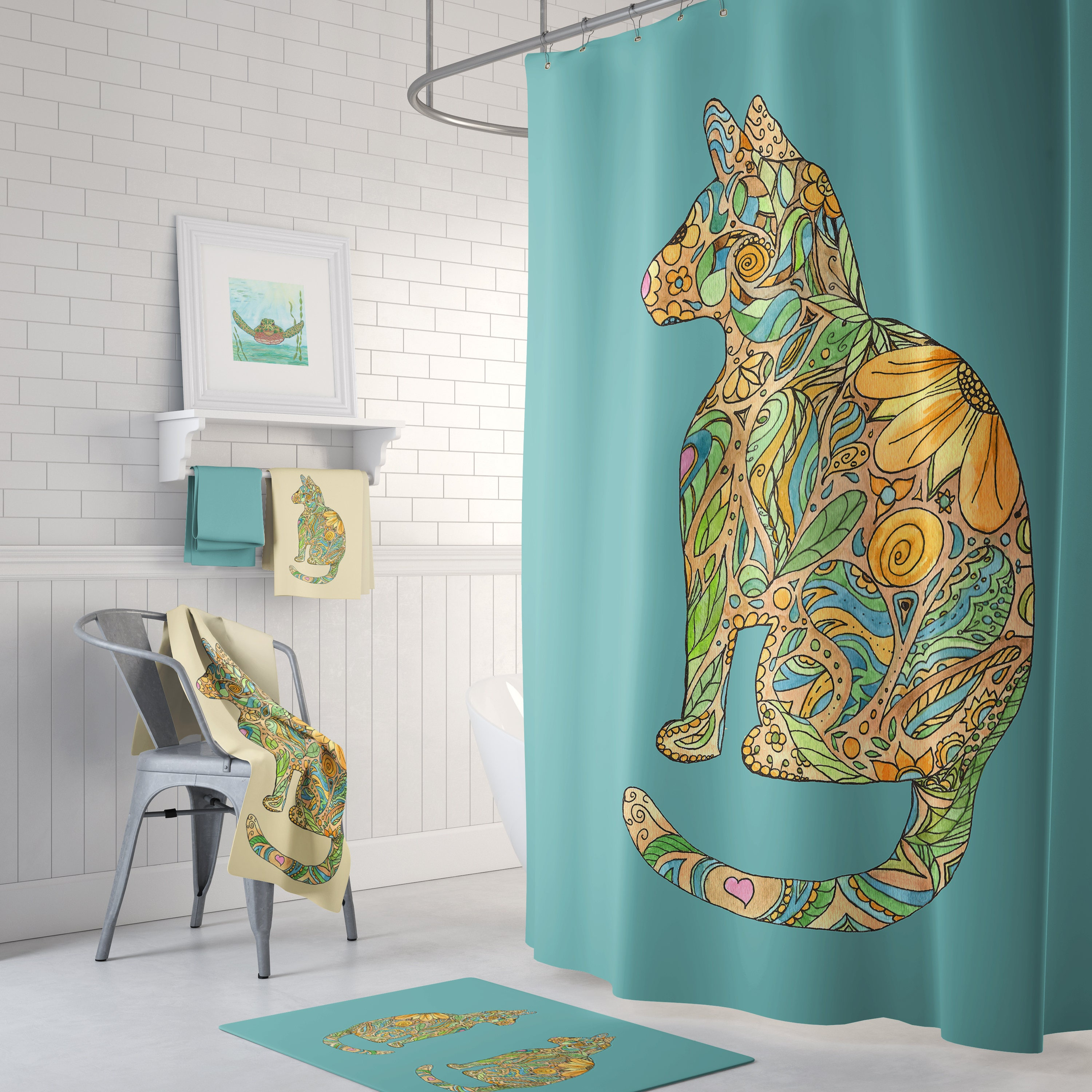 Calico Cat With Blue Shower Curtain Set Teal Blue And Gold