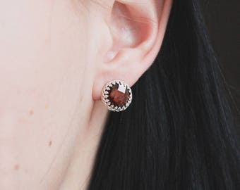 Sterling Silver Earrings Stud with Dark Red Gemstone Cubic Zirconia