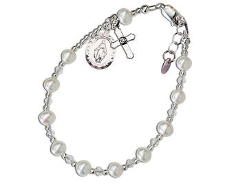 Sterling Silver First Communion Rosary Bracelet with Pink or White Freshwater Pearls, Miraculous Medal and Cross Charm for Girls (116 )