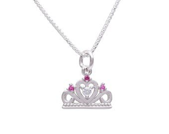 Sterling Silver Fairy Princess Tiara Charm Necklace with Gift Box  (BCN- Fairy Princess)