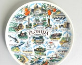 Vintage Florida Souvenir Plate Wall Hanging Mid Century Vacation FREE SHIPPING