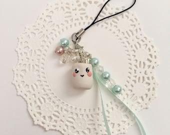 Kawaii White Marshmellow Charm Strap
