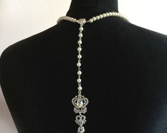 Vintage Inspired Backdrop Lariat Necklace - Bridal Wedding  Pearls & Diamante Made with CRYSTALLIZED™ - Swarovski Elements