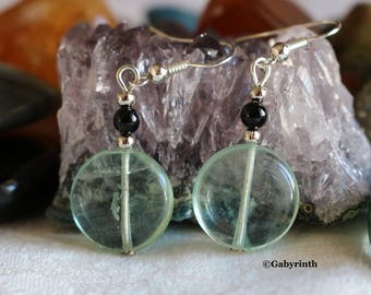 Fluorite black Agate earrings
