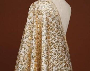 "Gold gloss stiff Jacquard Fabric Brocade Fabric Bridal Wedding Dress -FSMIL-55""wide/ 140 cm"