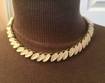 Sale Vintage Signed 50's Trifari Necklace Choker White Enamel Leaves