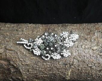 Vintage Sparkling White Black Blue Rhinestone  Flower Brooch Pin