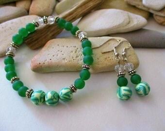 Emerald Green Frosted Glass Bracelet and Earrings | Clay Beads | Green Bracelet | Green Earrings | Stretch Bracelet | Stackable Bracelets