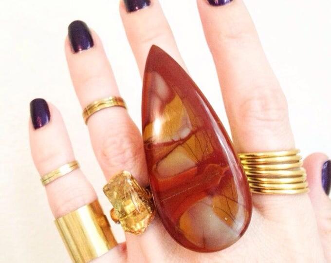 Noreena Jasper Brass Cuff Ring, Jasper Statement Ring, Crystal Statement Ring, Large Jasper Ring, Size 9 Ring