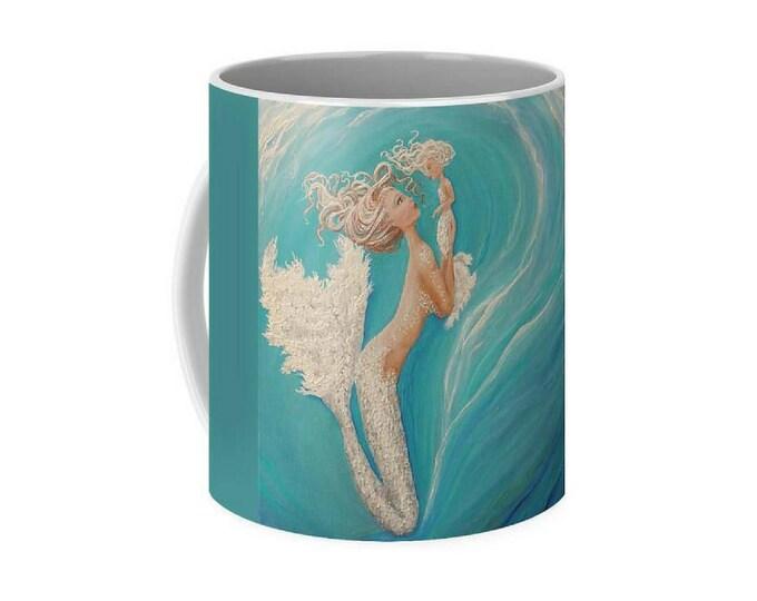 Mother daughter mermaid art mug, little mermaid coffee mug, baby teal mermaid cup, original painting by Nancy Quiaoit