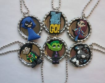 Lot of 6 Teen Titans Go! Bottle Cap Character Ball Chain Necklaces