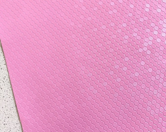 Candy Pink Honeycomb Leatherette Matte Finish Sheet Thin 0.7mm A4 or A5 Size Blush LIMITED EDITION