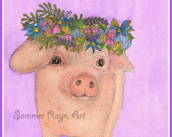 Boho Baby Piglet, sweet little pig wearing a Floral Head Wreath, Drawing with Watercolor accents, Card or Print, Item #0589a