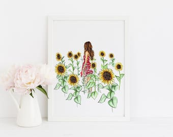 The Sunflower Field (Fashion Illustration Print)