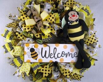 Bee Welcome Mesh Wreath, Bumble Bee Mesh Wreath, Honey Bee Wreath, Front Door Wreath