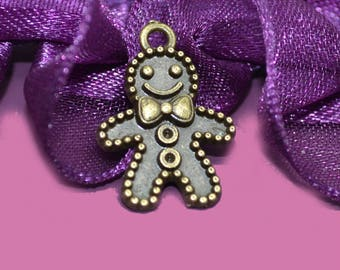 10 charms biscuit 13x18mm color bronze