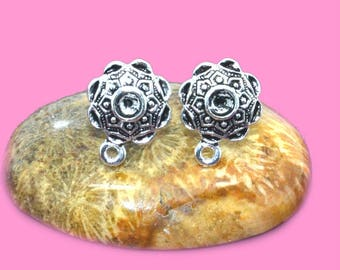 Supports silver 14x15mm Stud Earrings