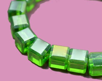 40 5mm peridot green AB Crystal cube beads