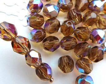 Czech Glass Beads Faceted 6mm - LIGHT COLORADO TOPAZ - 50pcs
