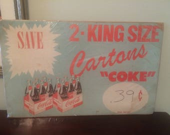 1940s Paper King Sized Coca Cola Coke Advertising Grocery Store Sign