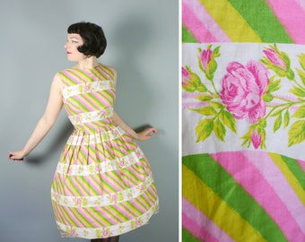 ROSE print 50s dress in soft PASTEL colours - pink, white and lime green - adorable 1950s day dress - uk10 / Small S
