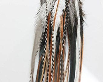 """25 Individual 8-12"""" Feather Hair Extensions Beautiful Beige & Brown Feathers with 10 Beads"""