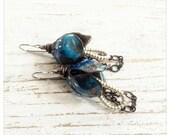 Blue flower earrings - enamelled flower earrings - flower bell drops - boho earrings - artisan earrings