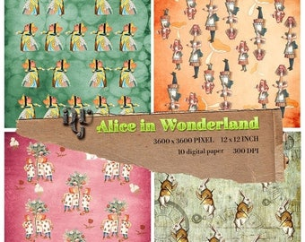 GREAT SALE Alice in Wonderland Digital Papers, Alice digital paper, Instant Download Alice paper pack for Birthday Baby Shower Party Decorat
