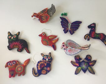 Vintage Mid Century Mexican Christmas Ornaments Animals Primary Colors