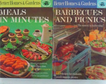"Pair of Better Homes and Gardens Cook-Books: ""Meals in Minutes"" & ""Barbecue and Picnics"" 1963"