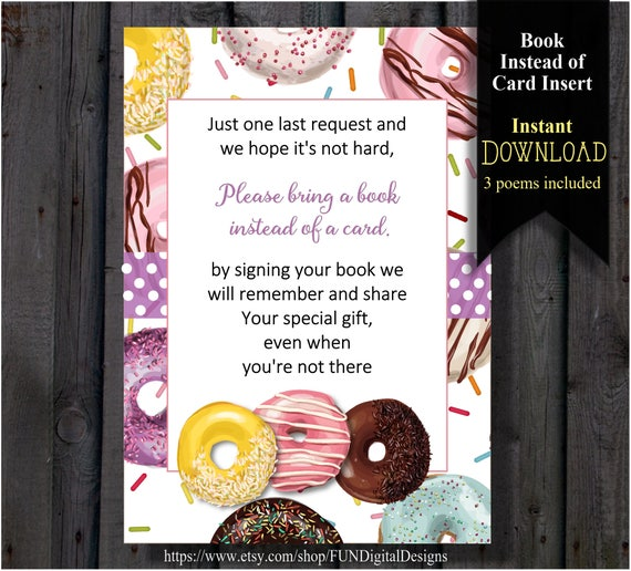 donut book instead of card insert for donut sprinkle baby shower