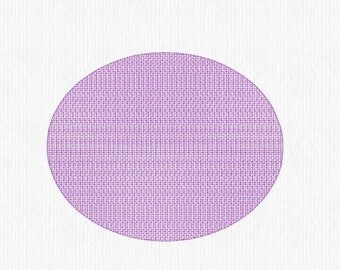 """Knockdown Stitch Oval 2""""x3""""  Embroidery Design Digital File - convo us if you need a different size or shape"""