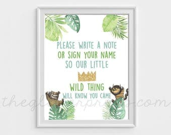 """Where the Wild Things Are Guestbook Sign 8""""x10"""" Printable Party Decor, Little Wild Thing, First Birthday, Baby Shower, INSTANT DOWNLOAD"""