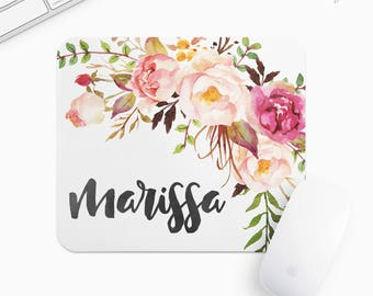 Personalized Floral Mouse Pad, Flower Mousepad, Rectangle or Round Circular, Gift mp0025