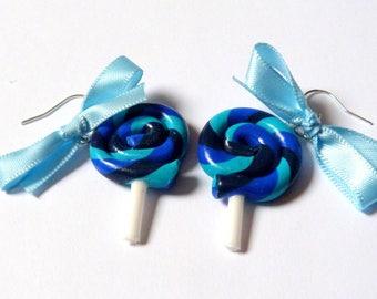 Delicious earrings, blue multicolored lollipops