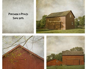 Rustic Red Barn Prints, farmhouse decor, set of 3 art prints, kitchen wall art, rustic wall art, vintage style wall art, barn photographs