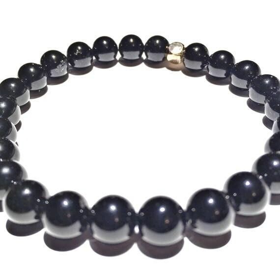 Glossed Onyx Beaded Bracelet, Custom, Gold Plated, Mala, Yoga, Meditation, Unisex, Men, Women, bachelor, groom, wedding