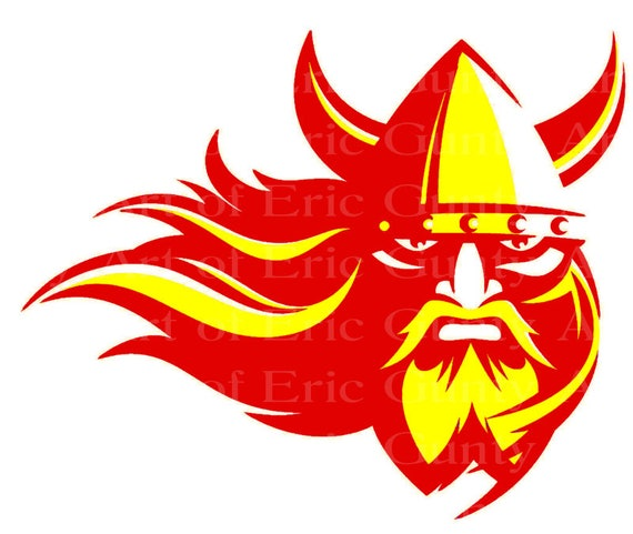 Red & Yellow Viking Mascot Birthday - Edible Cake and Cupcake Topper For Birthday's and Parties! - D22484