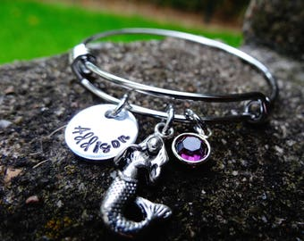 Little girl bangle, little girl charm bracelet, expandable bangle, charm bangle, mermaid bracelet, initial bracelet, monogram, princess