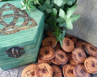 Celtic Runes Set, Viking Runes, Apple Runes,  Wooden Runes, Elder Futhark Runes, Rune Set